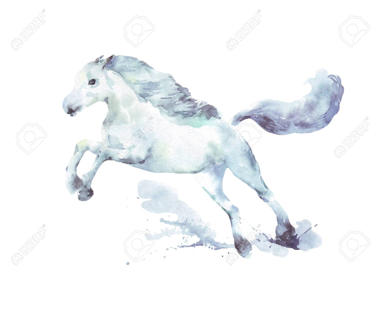 White Horse Running Watercolor Illustration Stock Photo Picture And Royalty Free Image Image 121867805