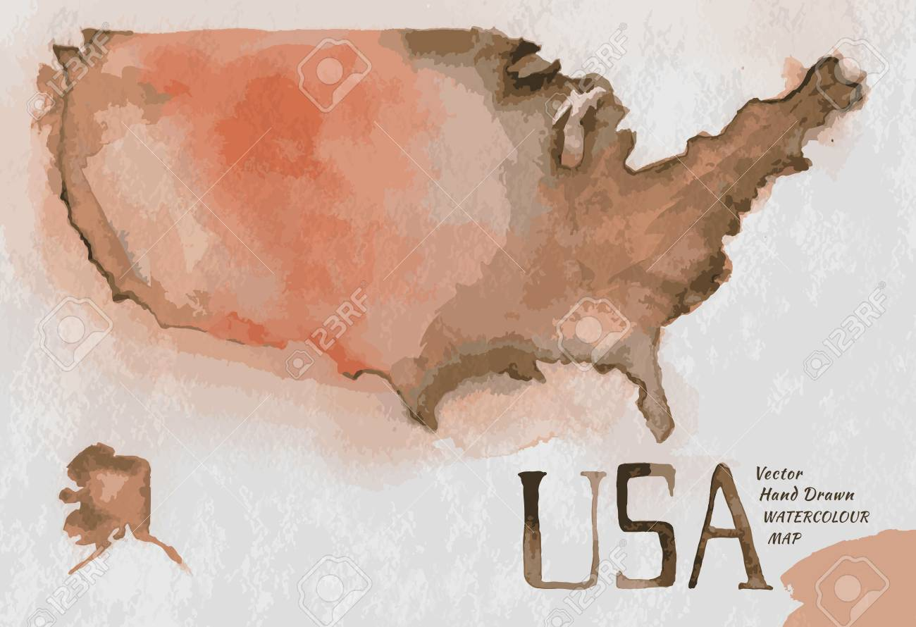 Vector Watercolor Hand Drawn Illustration Of USA Map. Vector ...