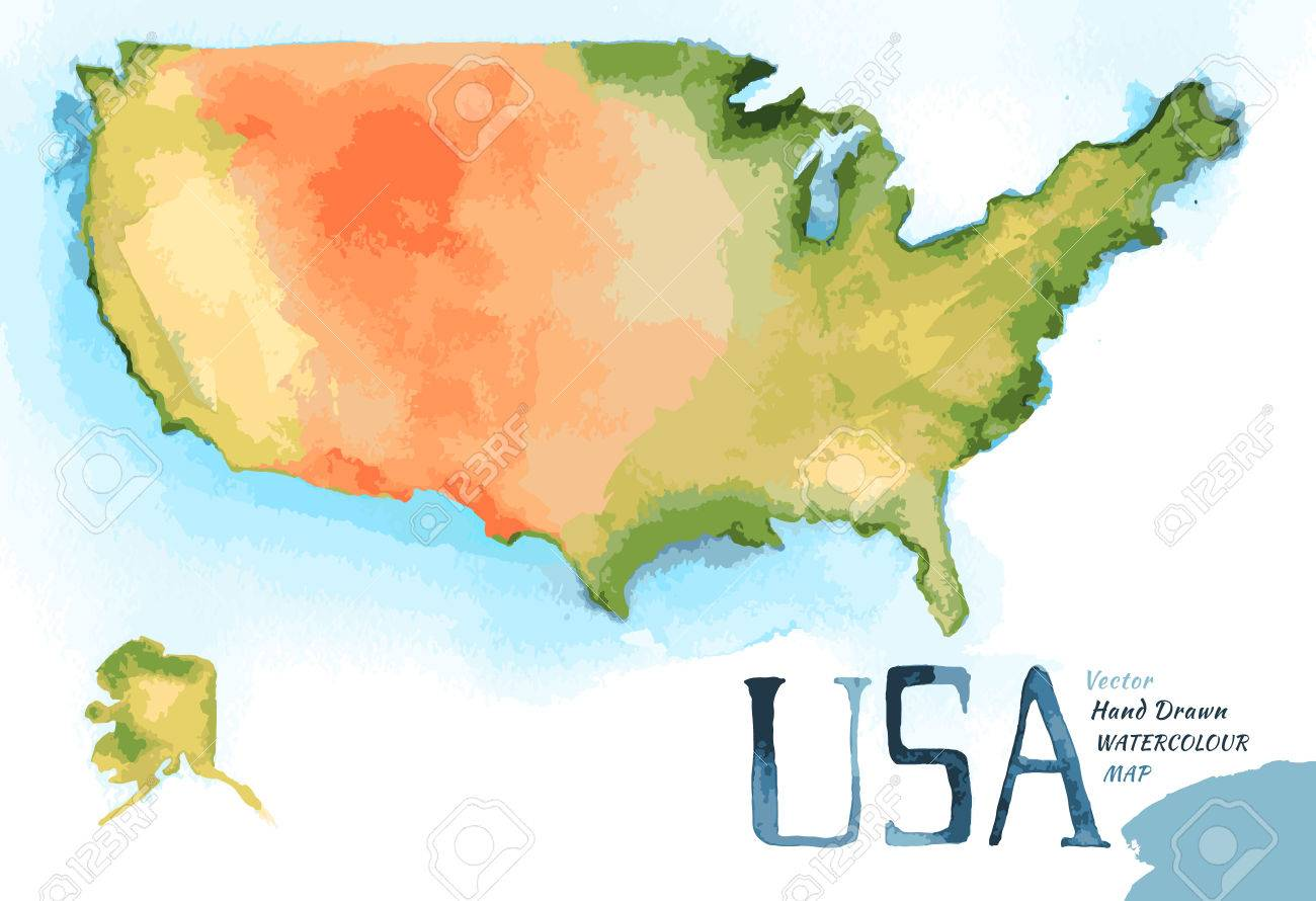 Watercolor Hand Drawn Illustration Of USA Map Royalty Free - Hand drawn us map vector