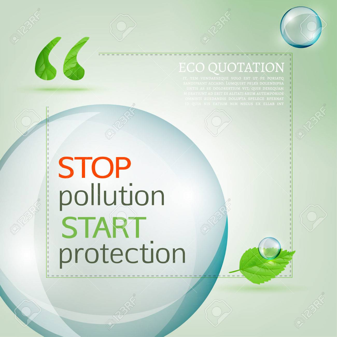 Pollution Quotes Vector Illustration Of Beautiful Abstract Bio Background With