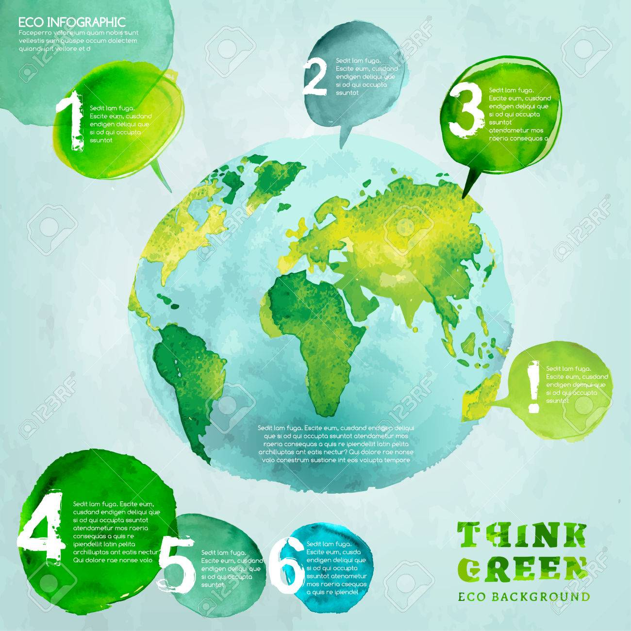 Vector watercolor hand drawn painted illustration of environmentally of environmentally friendly world map think green ecology concept with globe image infographic elements for poster brochure and leaflet design gumiabroncs Choice Image