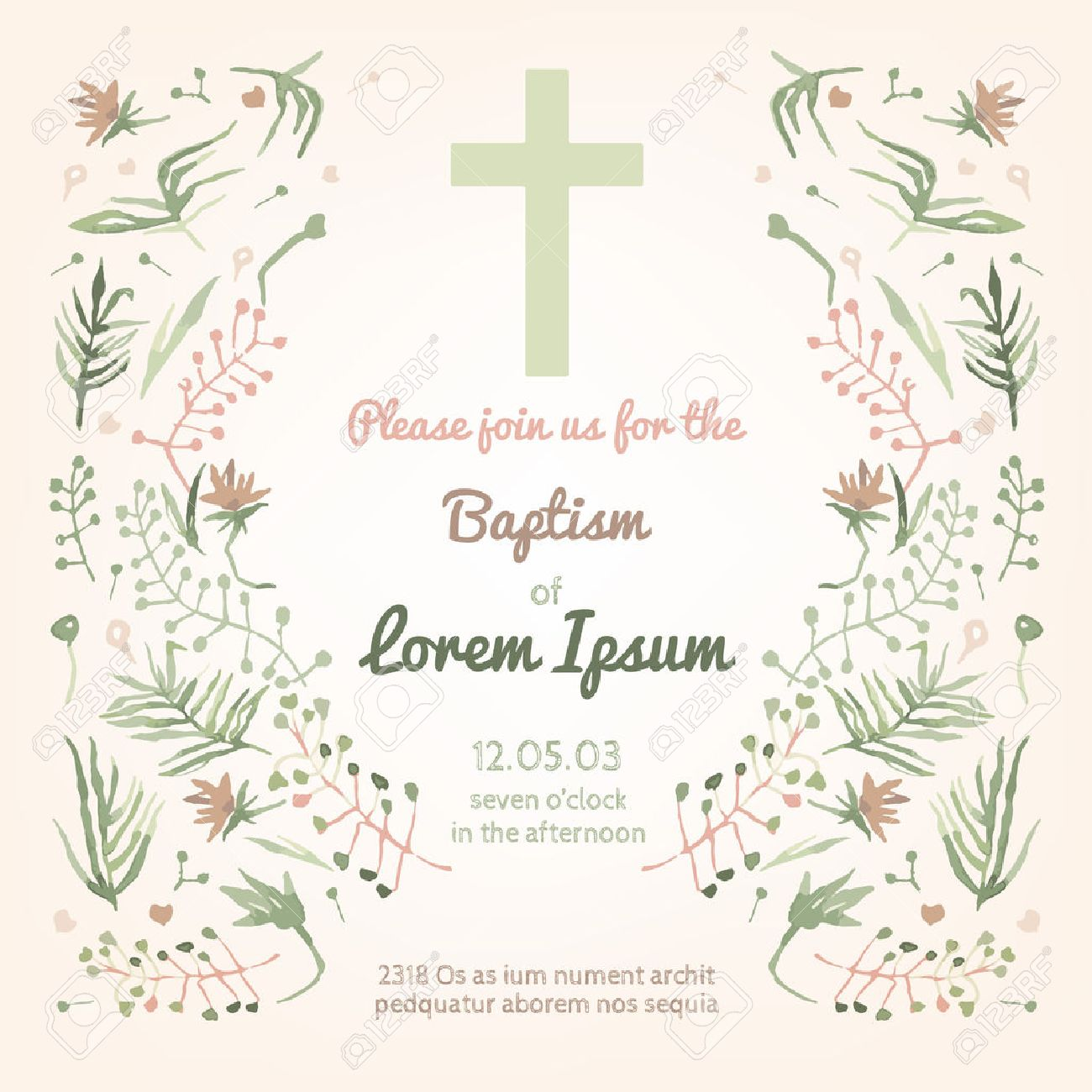 Beautiful Baptism Invitation Card With Floral Hand Drawn Watercolor  Elements. Cute And Romantic Vintage Style