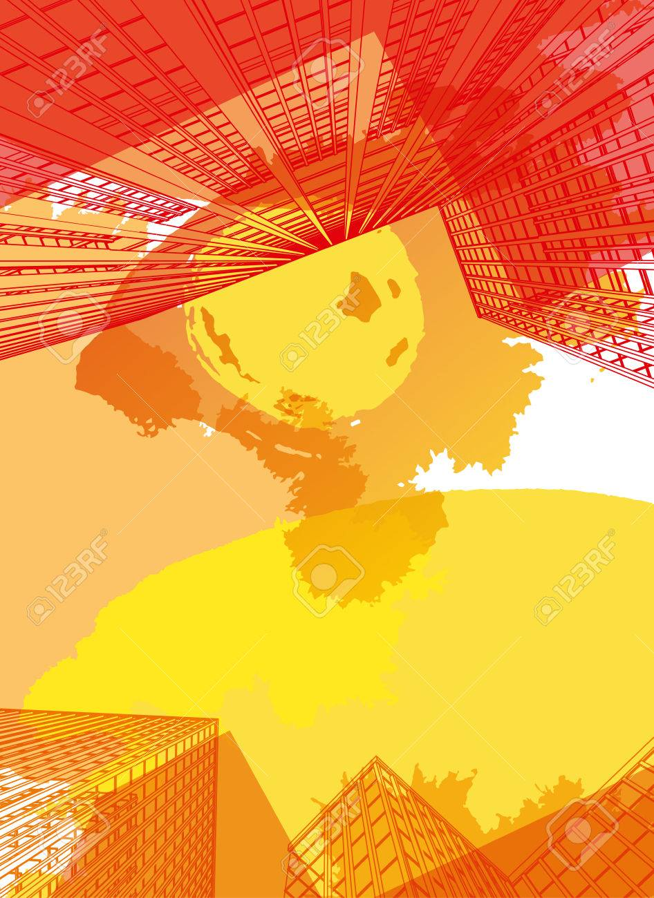 View From Below Useful Abstract Urban Background For Business Brochure Leaflet Print And Other Modern Futuristic Design