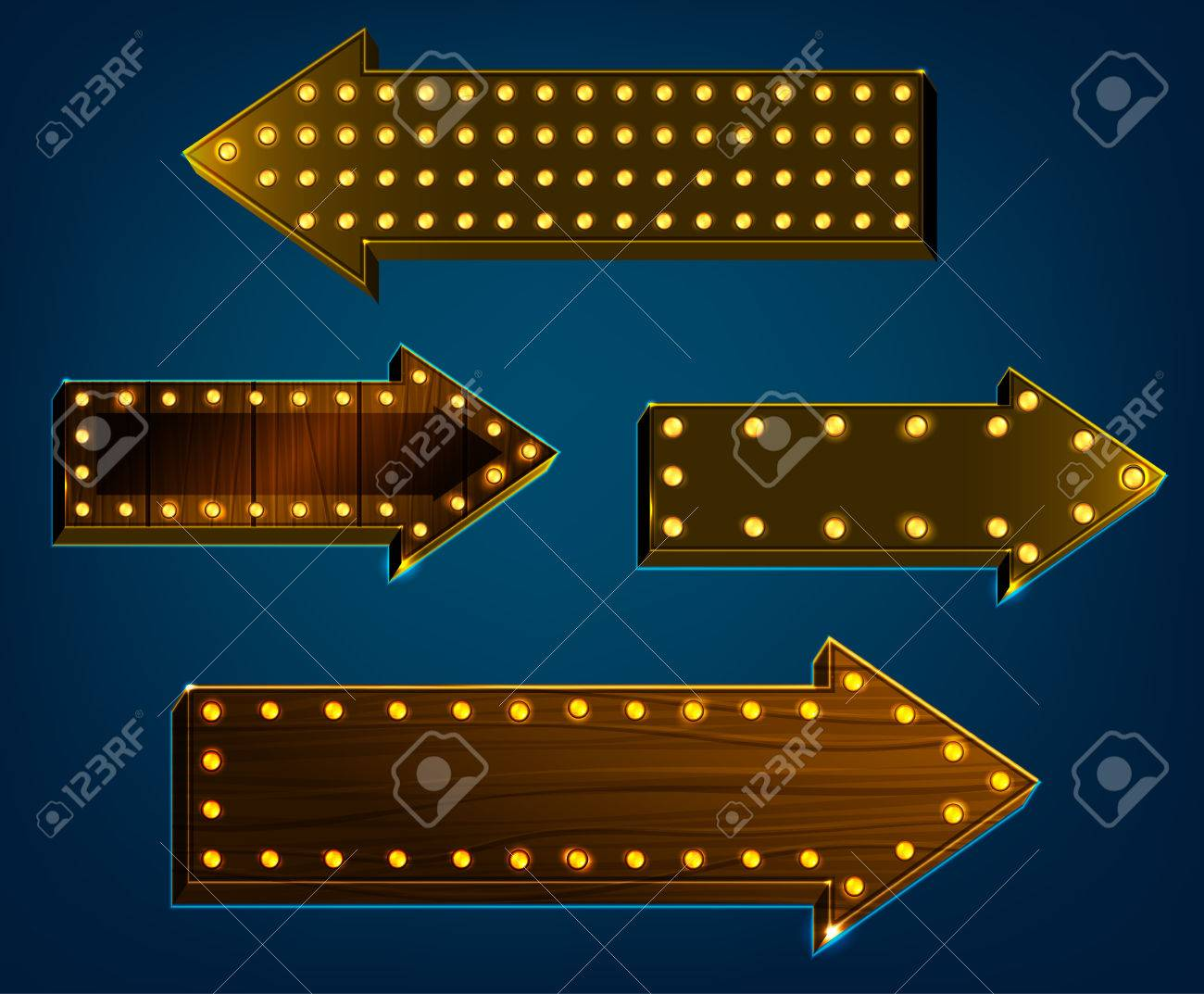 Vector Illustration Of Wooden Arrow Signs With Lighting Bulbs