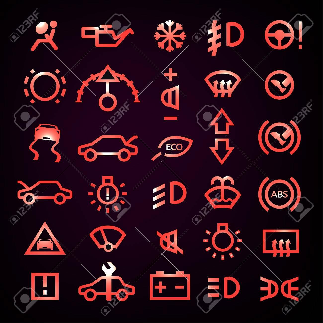 Beautiful vector illustration of car dashboard icons on a black beautiful vector illustration of car dashboard icons on a black background transportation automotive design biocorpaavc Images