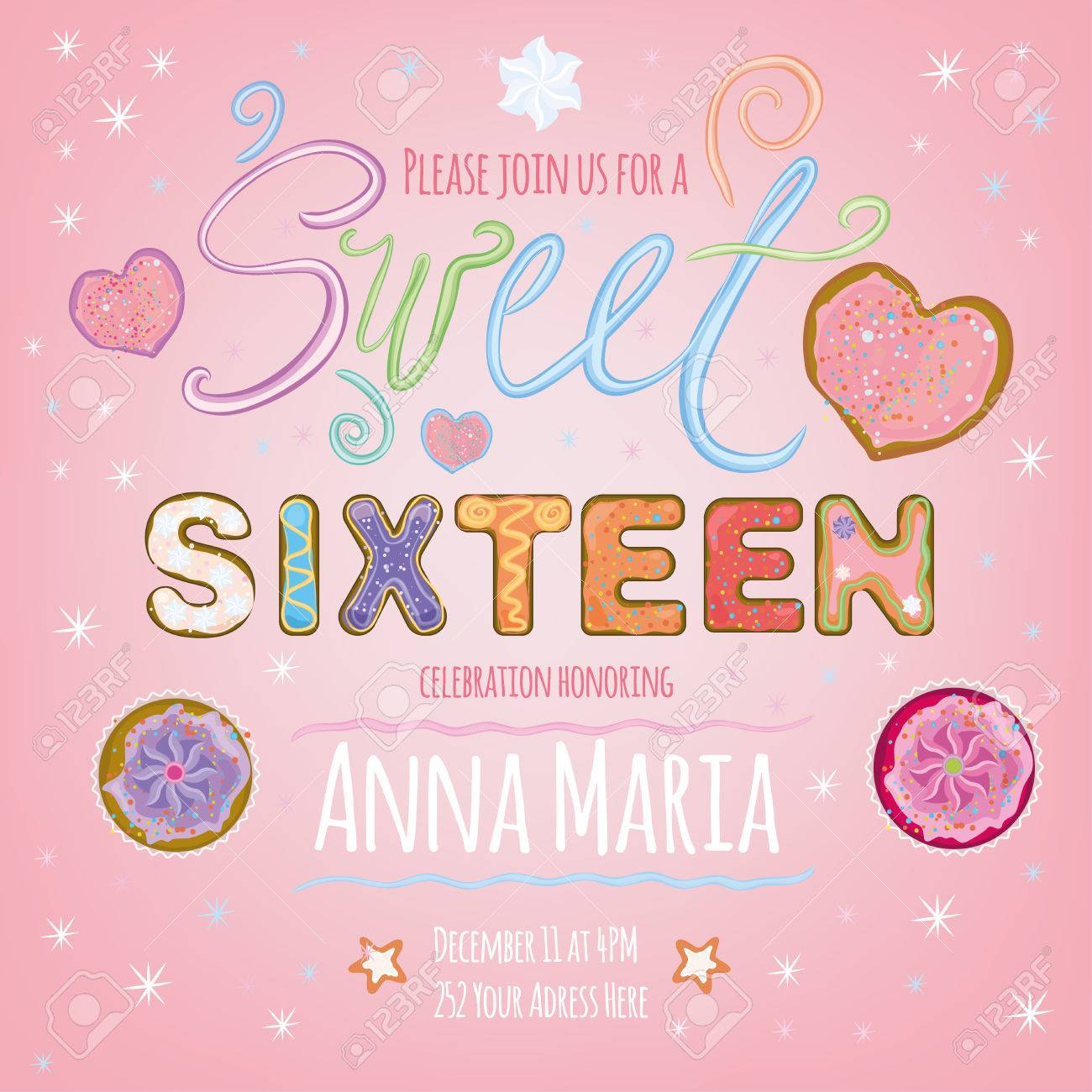 Beautiful Vector Illustration Of A Sweet Sixteen Birthday Party