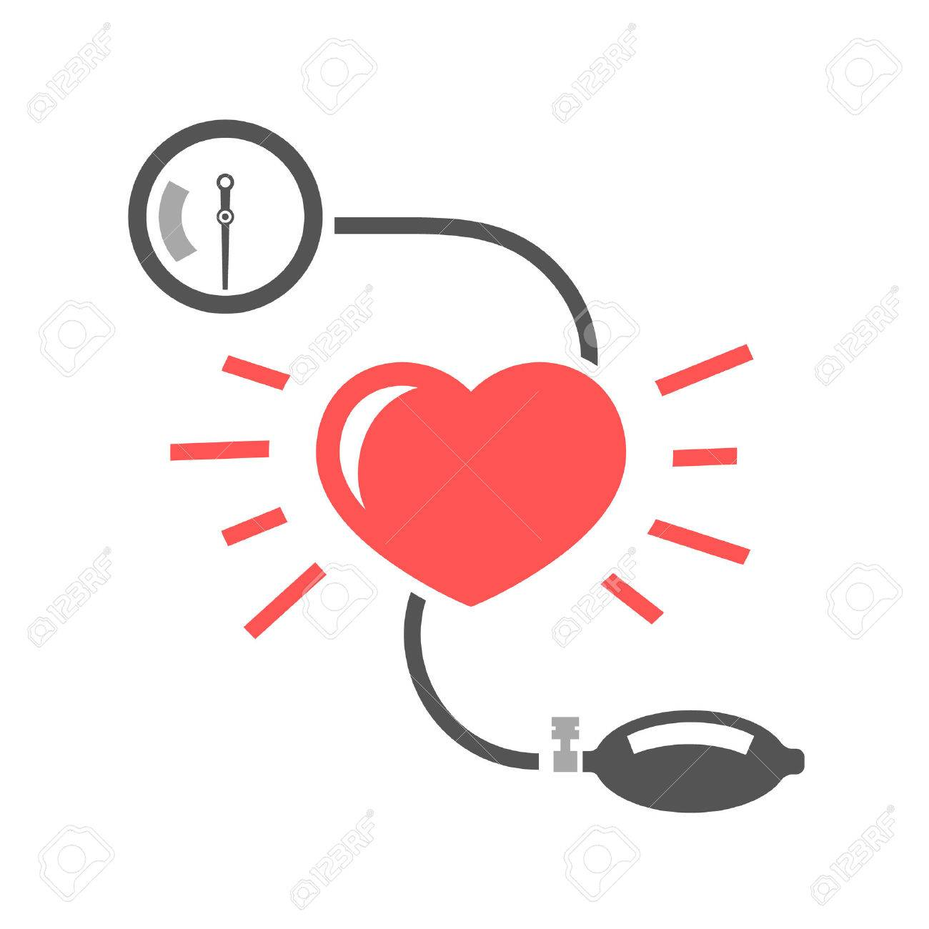 Beautiful vector illustration of blood pressure measuring. Abstract medicine symbol. Useful for sign development, indographics, postcard, leaflet, brochure, print, book and poster graphic design. - 51896683