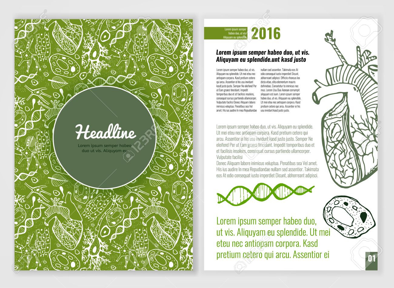 biology scientific brochure template bright modern background