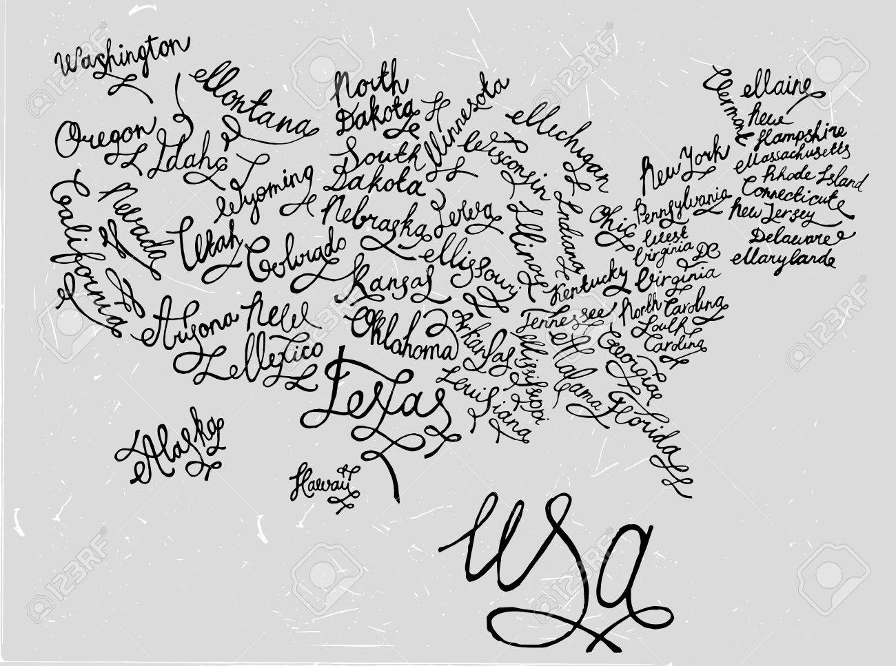 United States Of America Hand Drawn Map. Editable Vector ...
