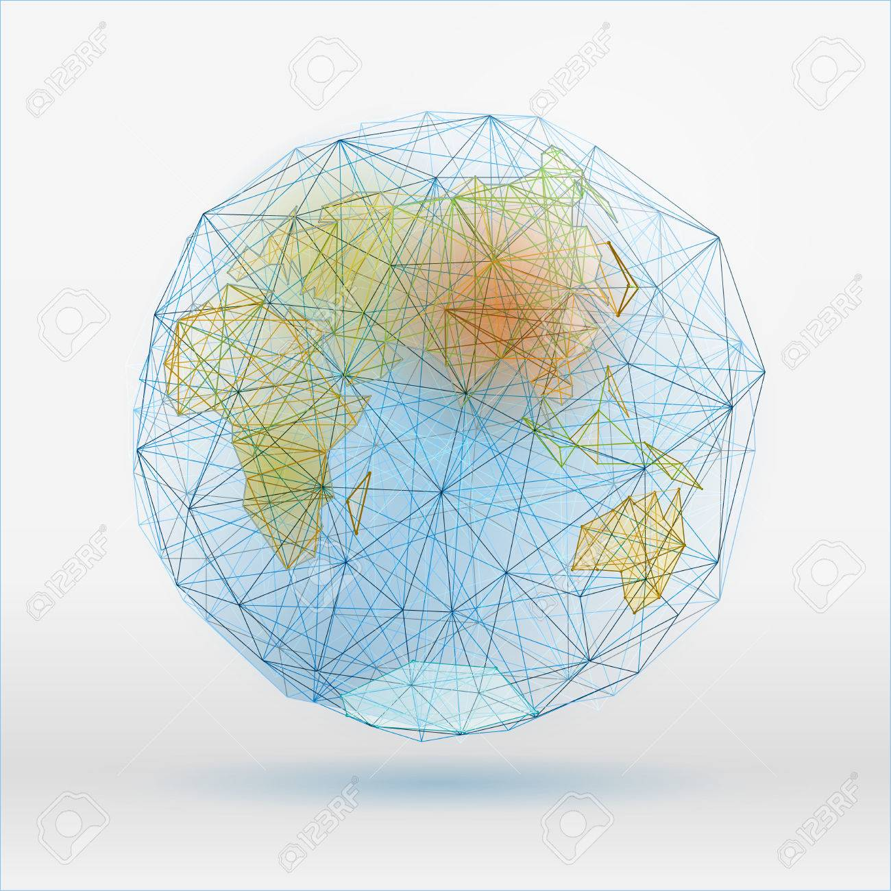 Abstract polygonal world map with dots connecting lines network abstract polygonal world map with dots connecting lines network connections digital globe concept gumiabroncs Gallery