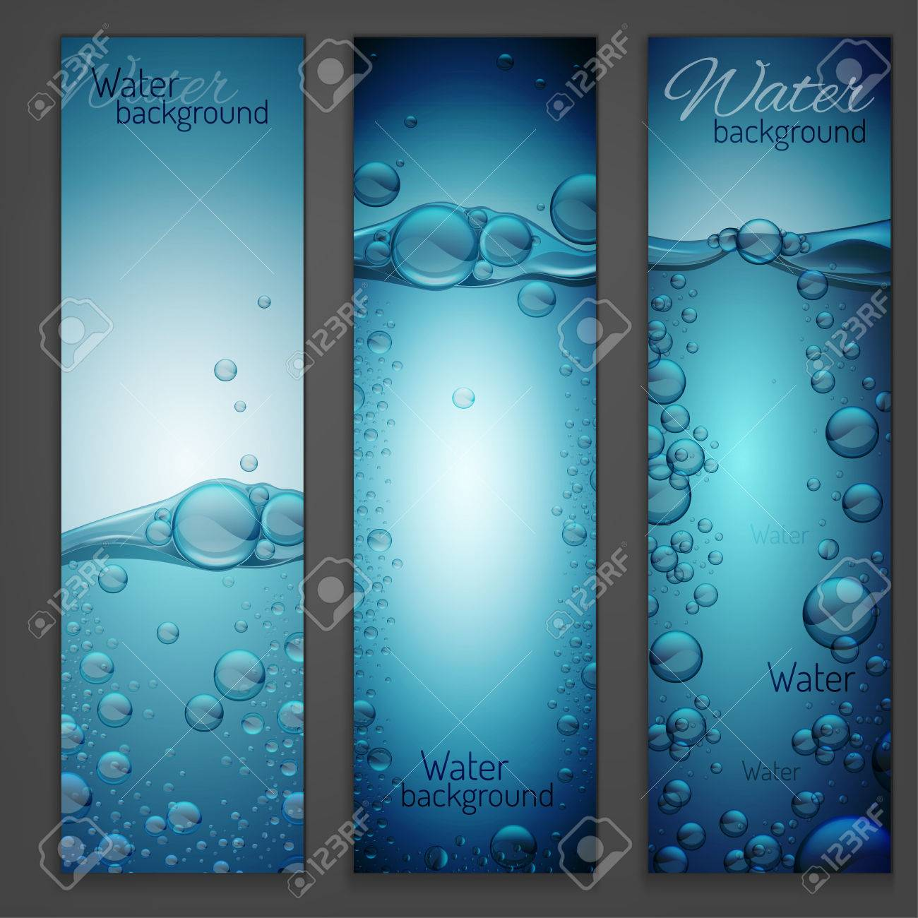 Beautiful Transparent Water Wave Image With Bubbles. Vector Illustration In Light Blue  Colours. Purity And Pictures Gallery