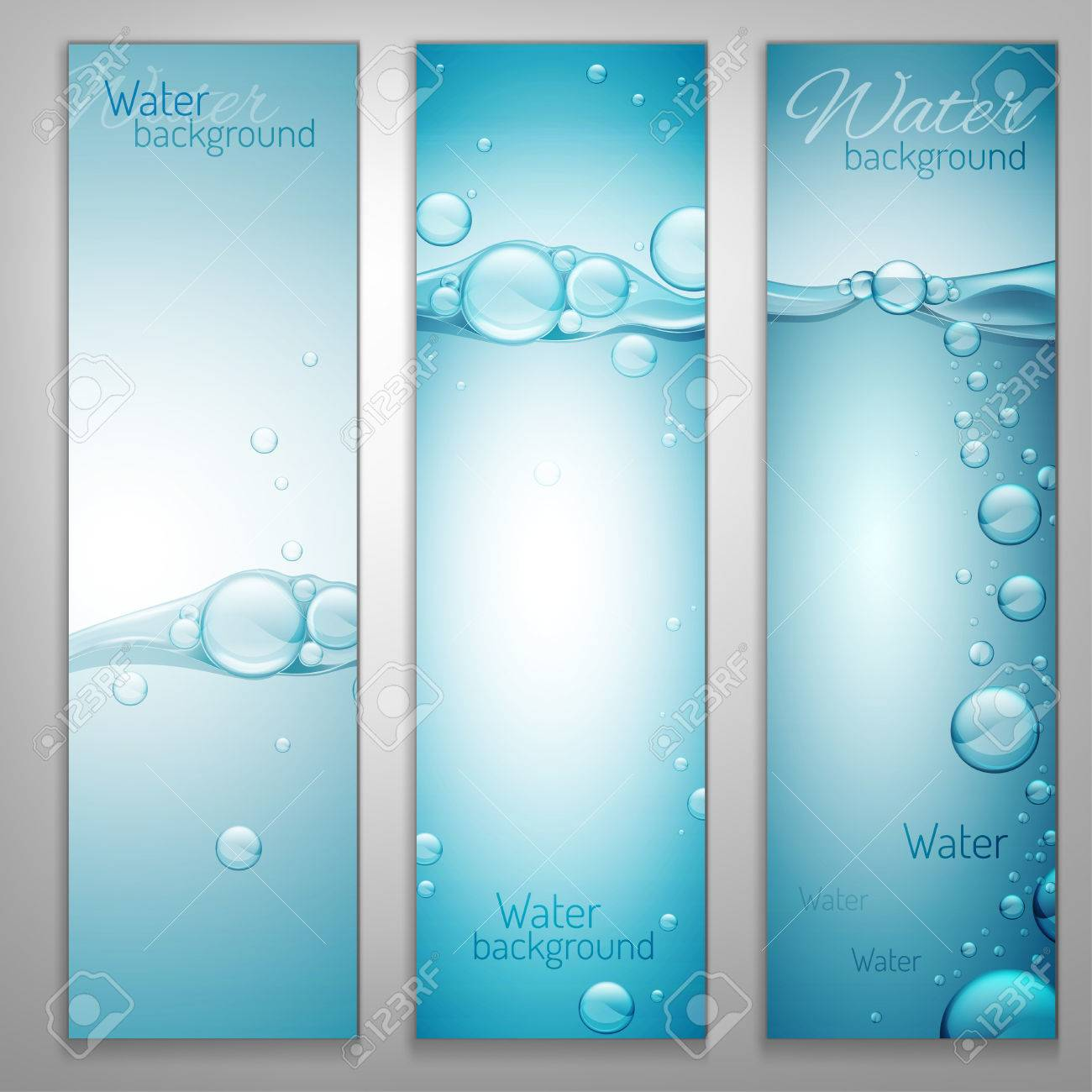Perfect Transparent Water Wave Image With Bubbles. Vector Illustration In Light Blue  Colours. Purity And Good Looking