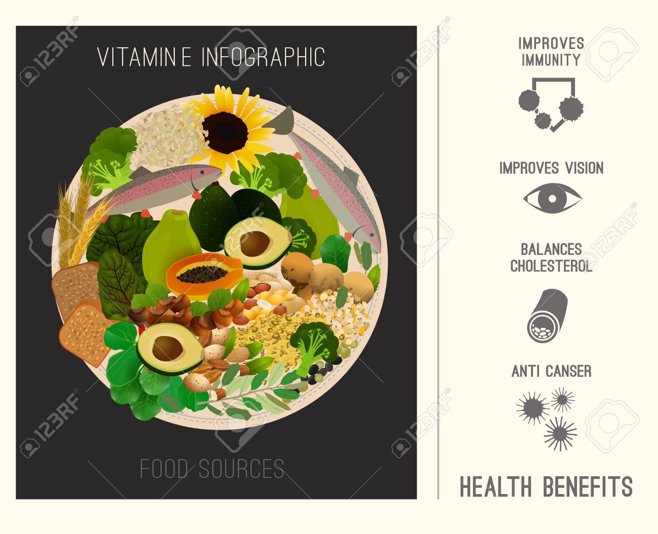 Vitamin e infographics vector illustration foods containing foods containing vitamin e on a round plate source of vitamin e nuts corn vegetables fish oils with health benefits tips workwithnaturefo