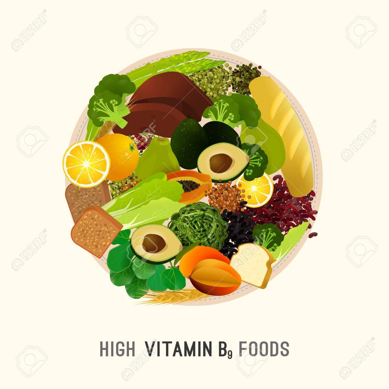 Hohe Vitamin B9-Lebensmittel. Gesunde Hülsenfrüchte, Tropische ...