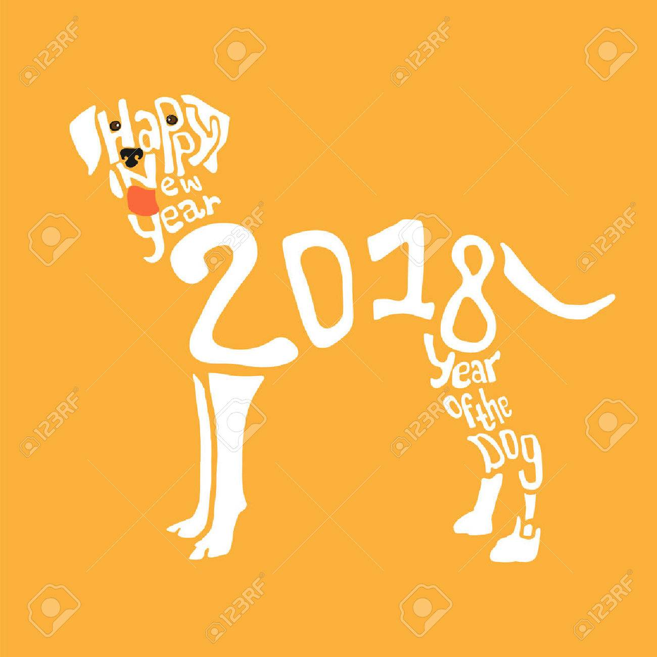 2018 happy new year greeting card design stock vector 85612313