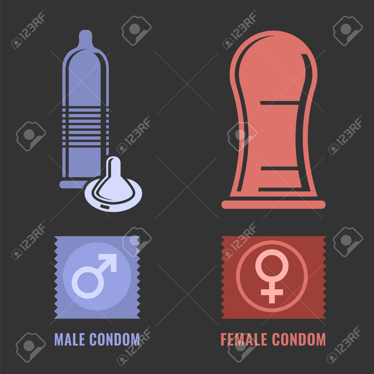 Female and male condoms modern contraception method female and male condoms modern contraception method contraceptive icons set safe sex buycottarizona Images