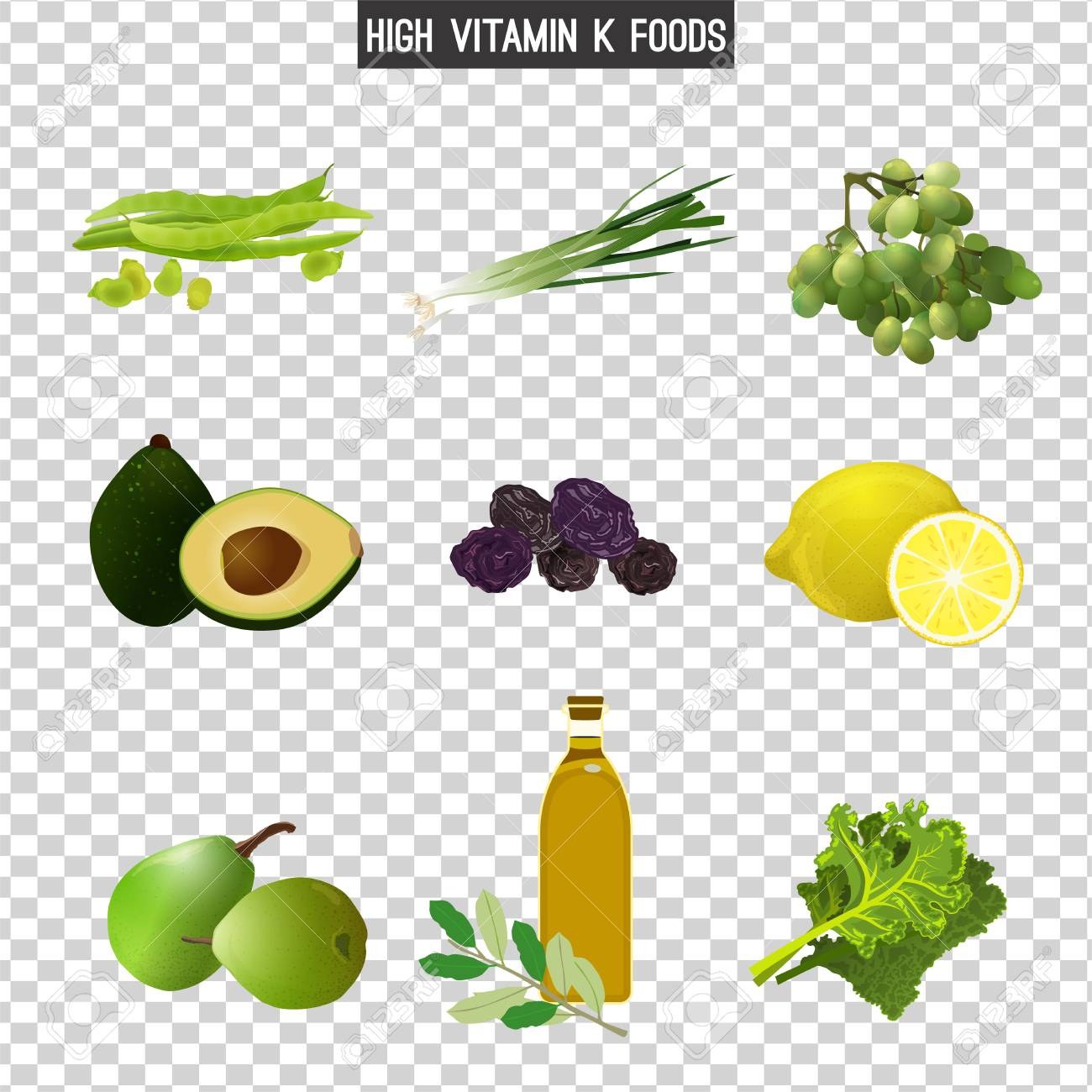 High Vitamin K Foods Vector Illustration Isolated On A Transparent