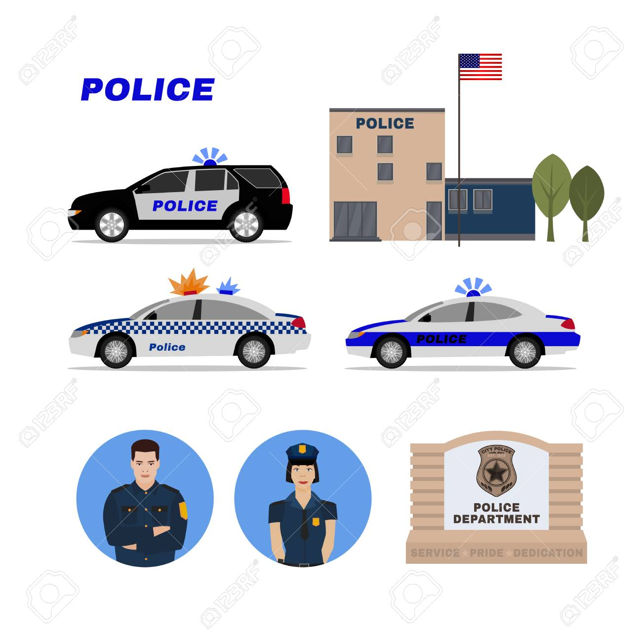 Police station, patrol cars, policeman and policewoman  Editable