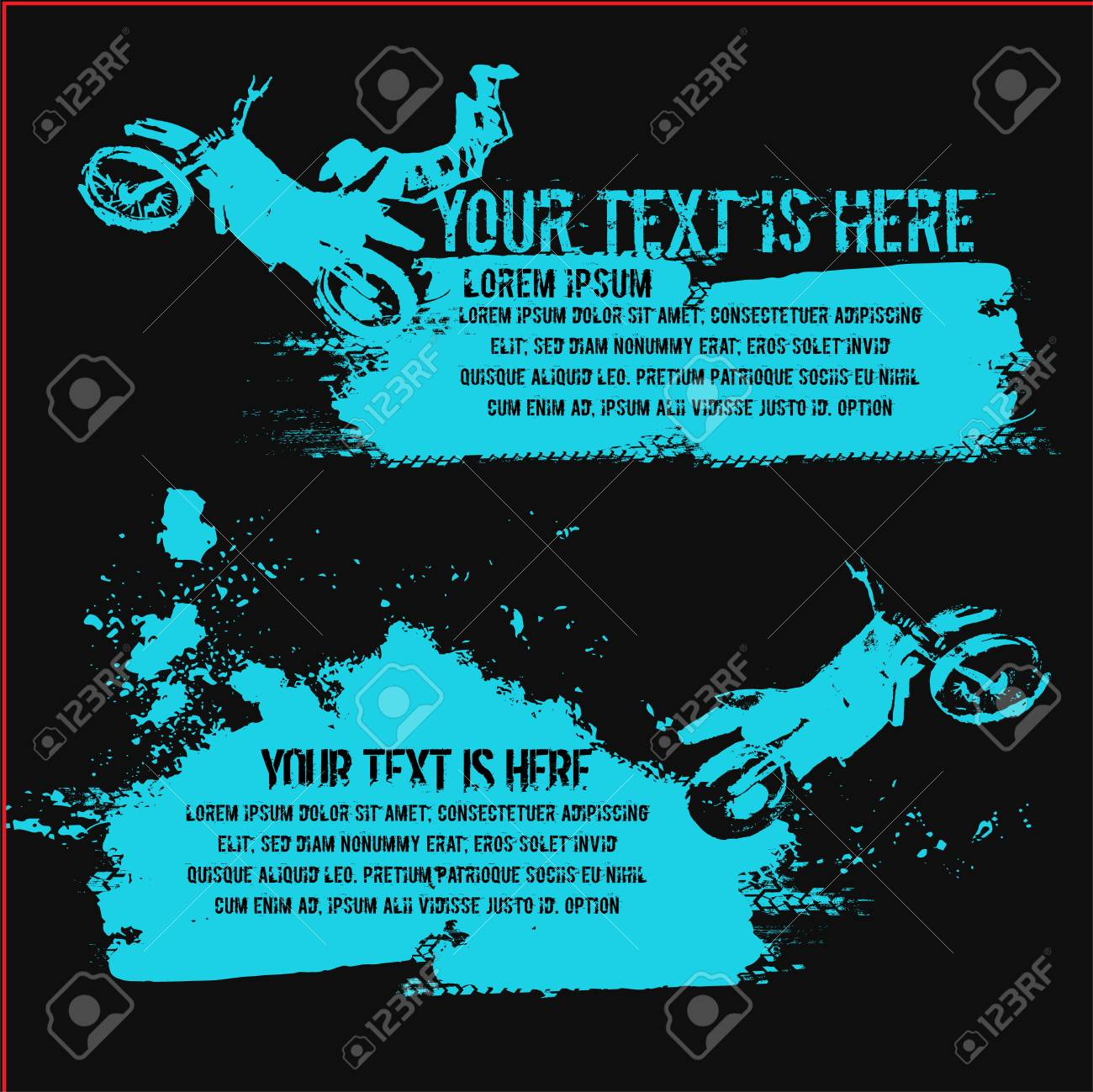 vector vector automotive banners template grunge dirt splash backgrounds with hand drawn motorcycle for poster digital banner flyer leaflet and web