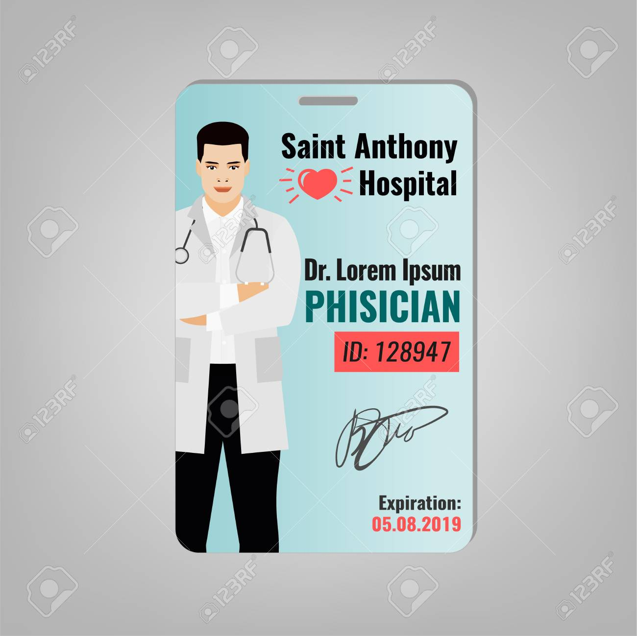 Doctors ID Card With Hospital Logo And Phisician Image Medical Specialist Badge Template For Medicine