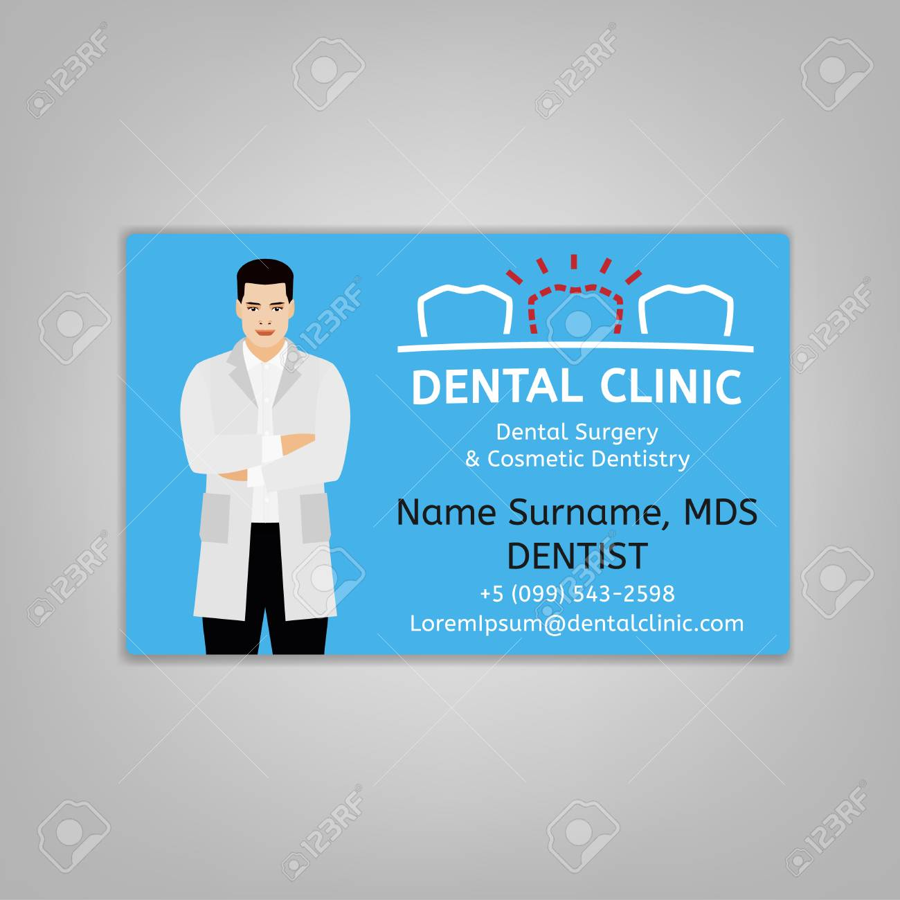 doctors id card with dentist image medical specialist badge
