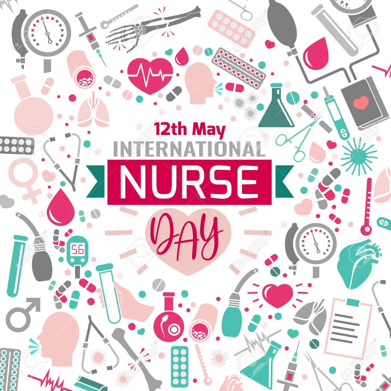 International nurse day image. Vector illustration in pink, green and grey colors isolated on a white background. Medical and healthcare concept. - 103528984