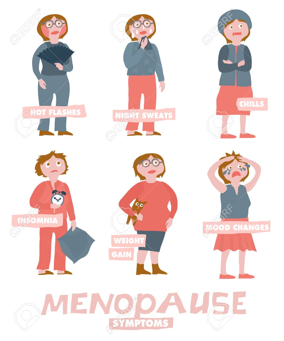 Menopause Symptoms And Physical Changes Vector Illustration