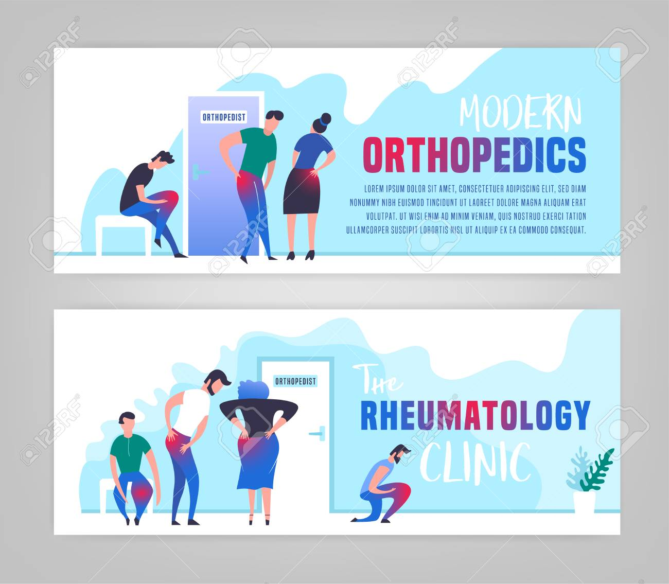 Osteoarthritis illustration in modern vanguard simplistic style. Hip and knee bones injury. Orthopedic clinic. Editable vector in bright green, blue, pink colors. Medical, healthcare, science concept. - 123182679