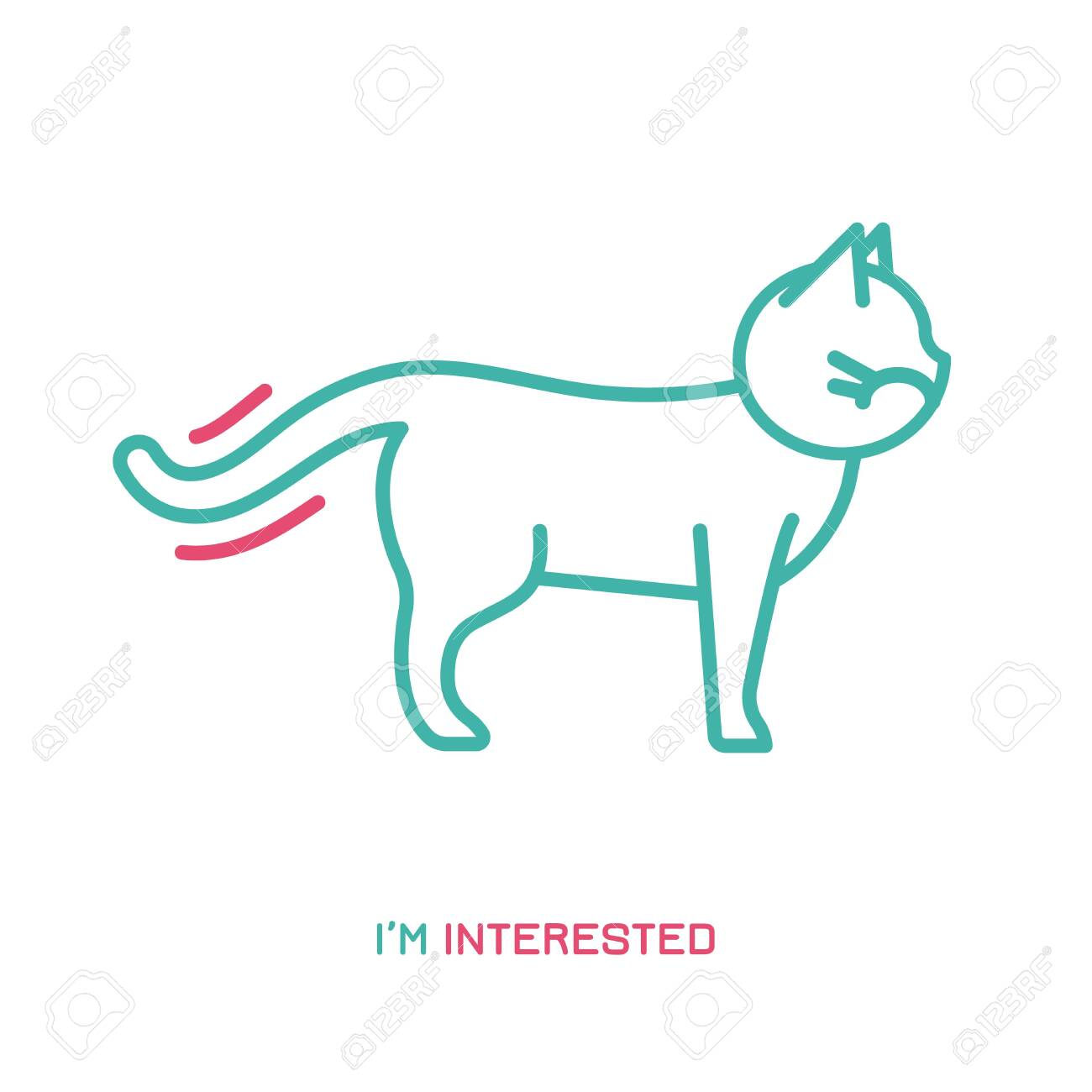Cat behavior icon. Domestic animal or pet tail language. I am interested. Kitty reaction. Simple icon, symbol, sign. Editablel vector illustration isolated on white background - 132190048