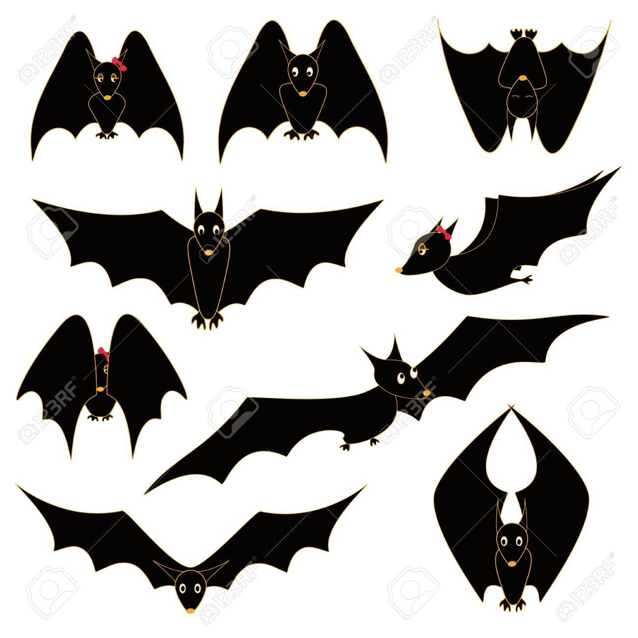 A Picture Of A Cartoon Bat illustration with set of funny cartoon bats