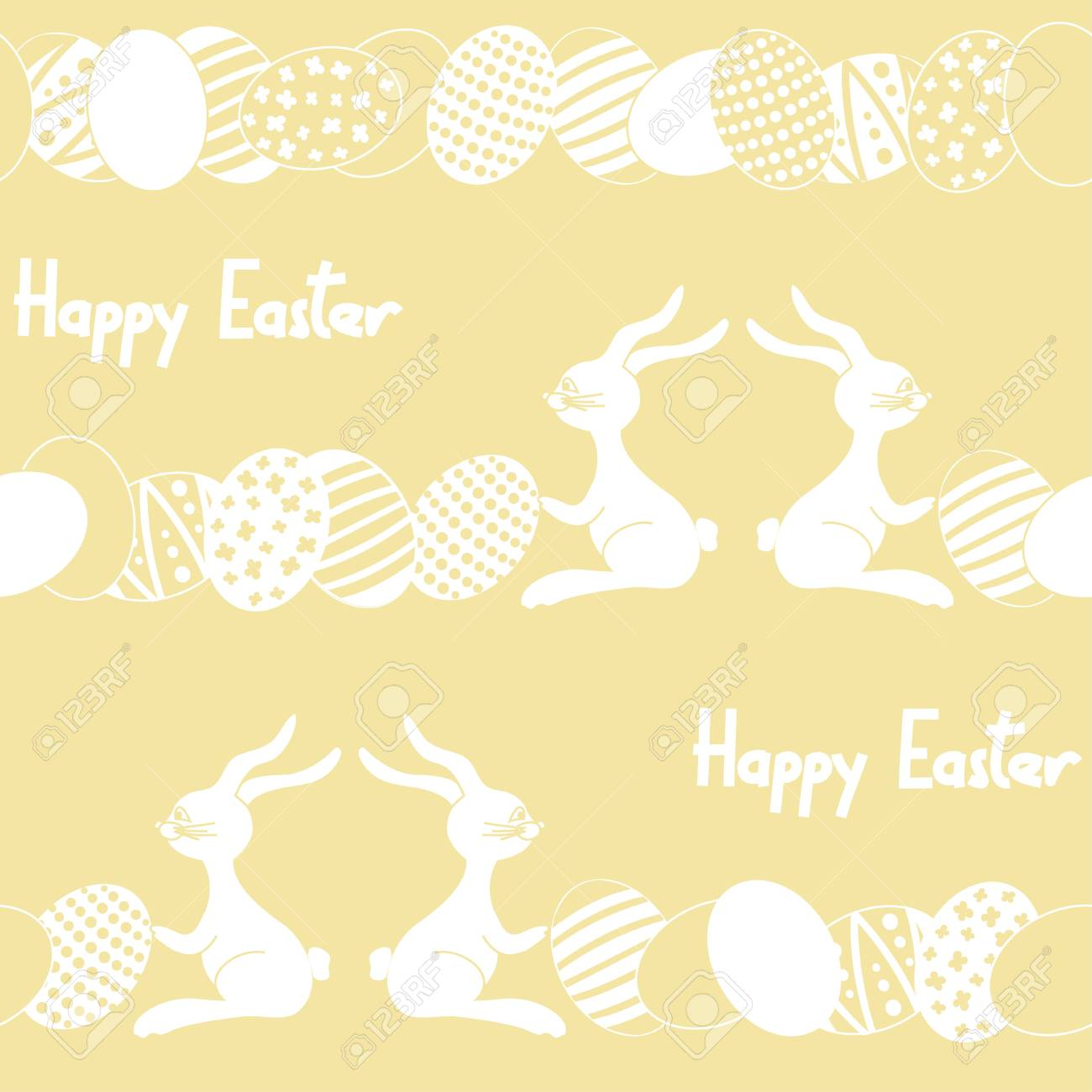 Soft seamless pattern with cartoon easter rabbit, eggs and text happy easter Stock Vector - 18264930