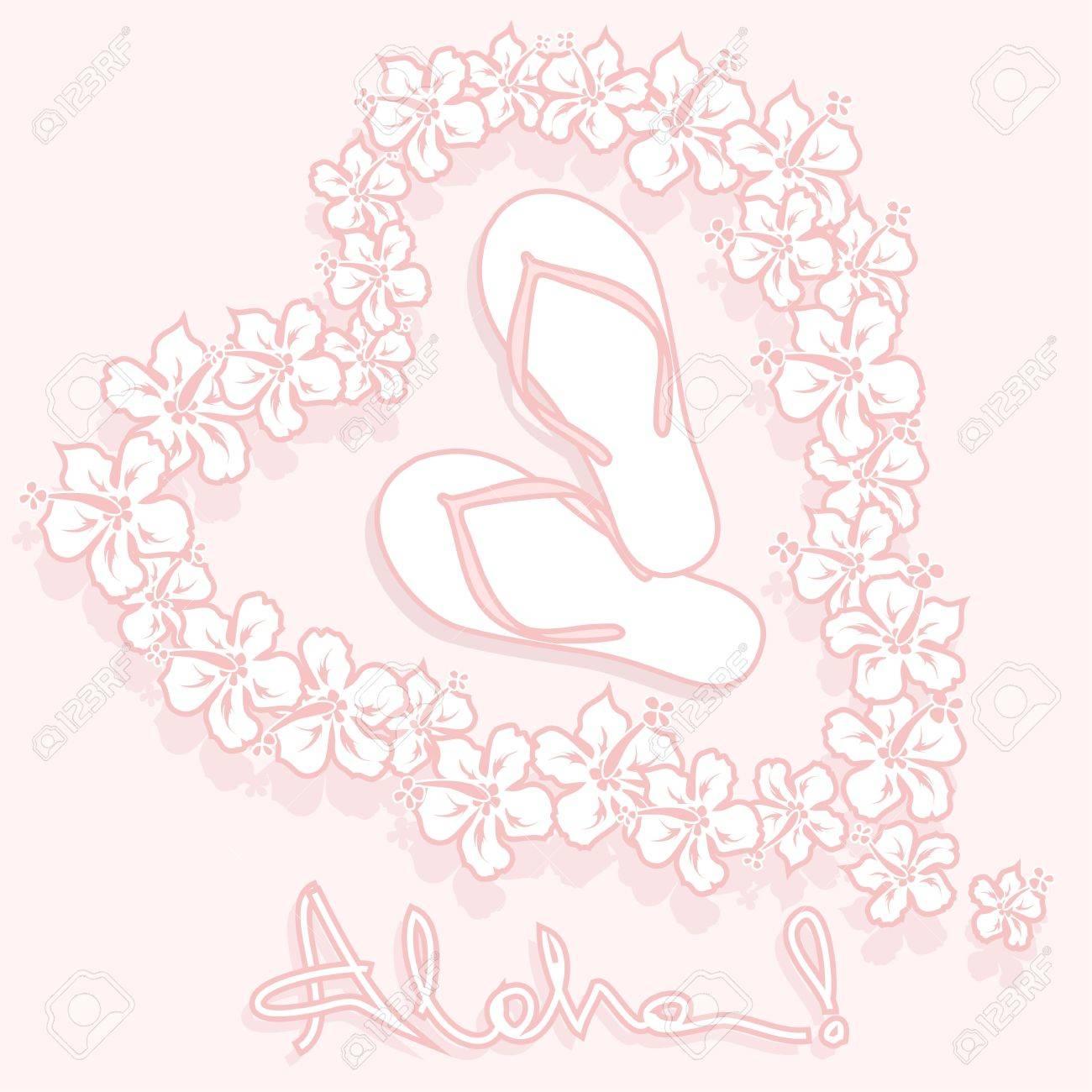 Illustration of hawaiian flower garland flip flops and text illustration of hawaiian flower garland flip flops and text aloha stock vector 18853668 izmirmasajfo