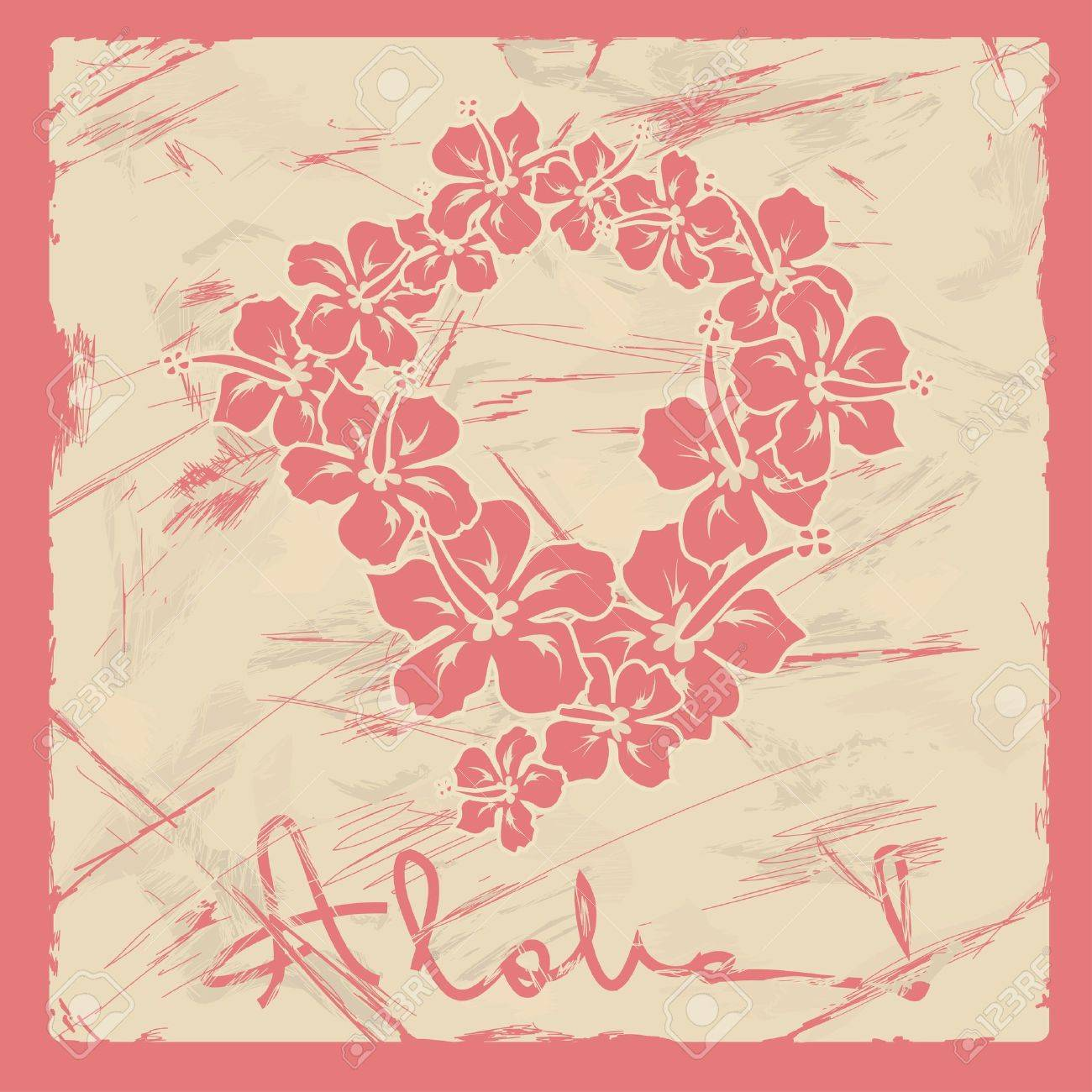 Illustration of hawaiian flower garland on a retro background illustration of hawaiian flower garland on a retro background stock vector 18853658 izmirmasajfo Images