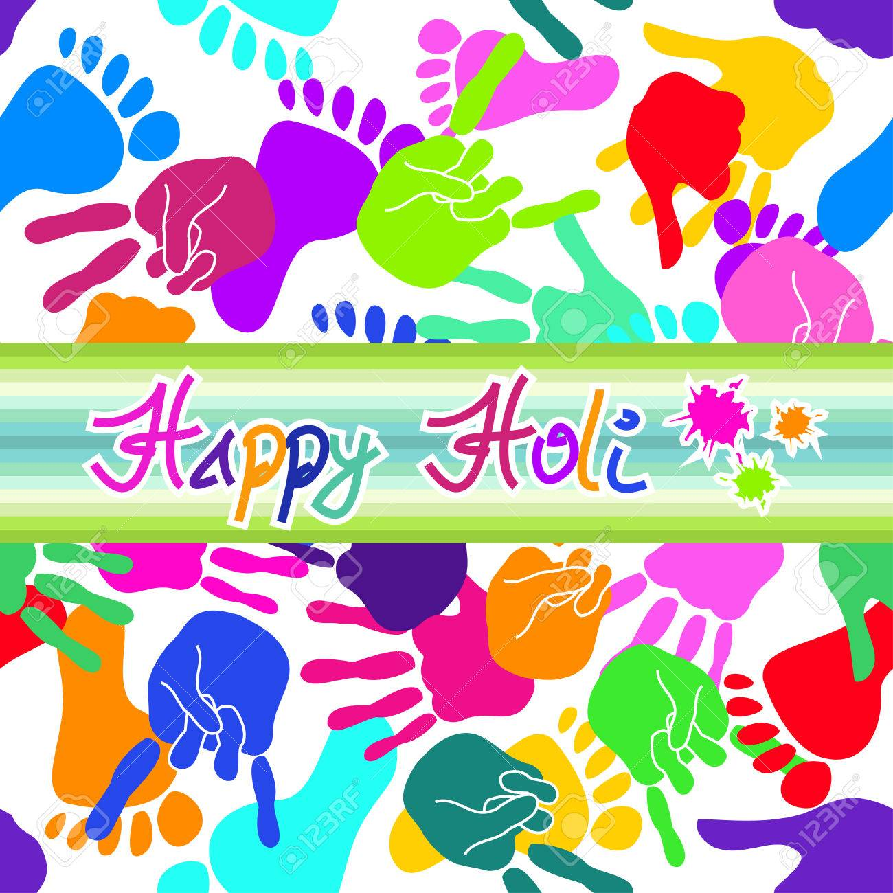 Colorful Happy Holi background with handprints and footprints Stock Vector - 23498768