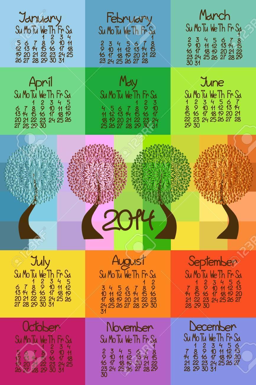 Colorful 2014 calendar with seasonal trees Stock Vector - 23498832