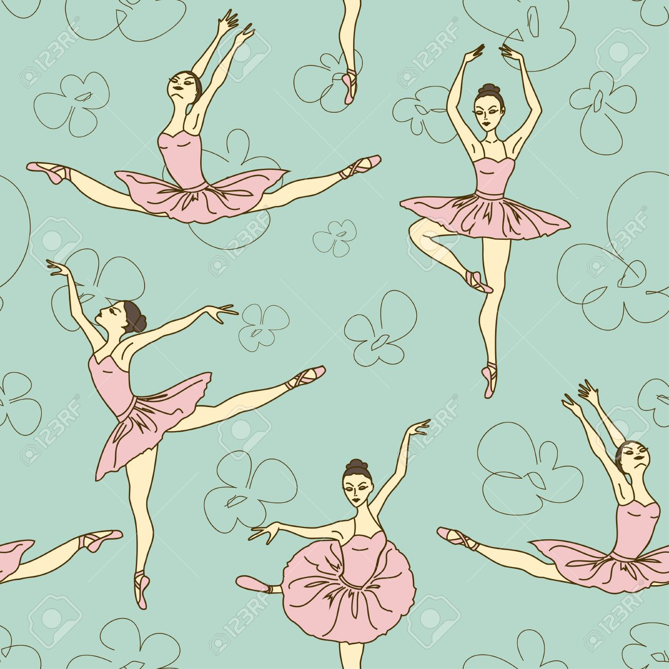 Seamless pattern of ballet dancers royalty free stock photography - Seamless Pattern Of Ballet Dancers In Different Poses Stock Vector 23498864
