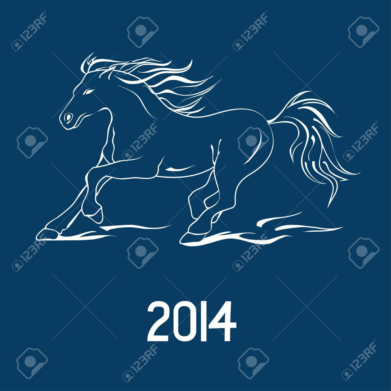 Illustration with New Year 2014 symbol of horse Stock Vector - 23498903