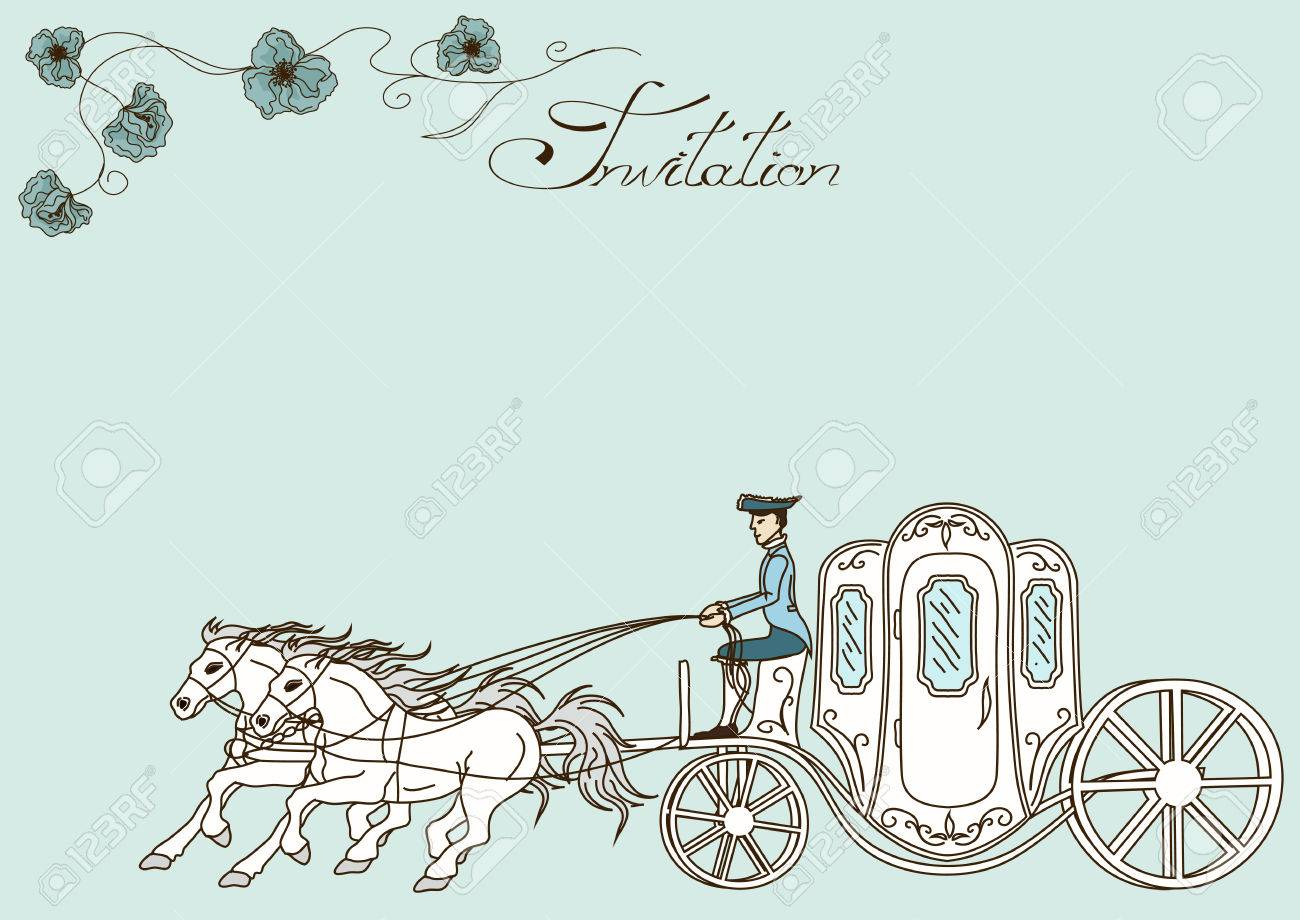 Horse And Carriage: Vintage Invitation Or Card With Horse Carriage  Working_animals_jerry_001