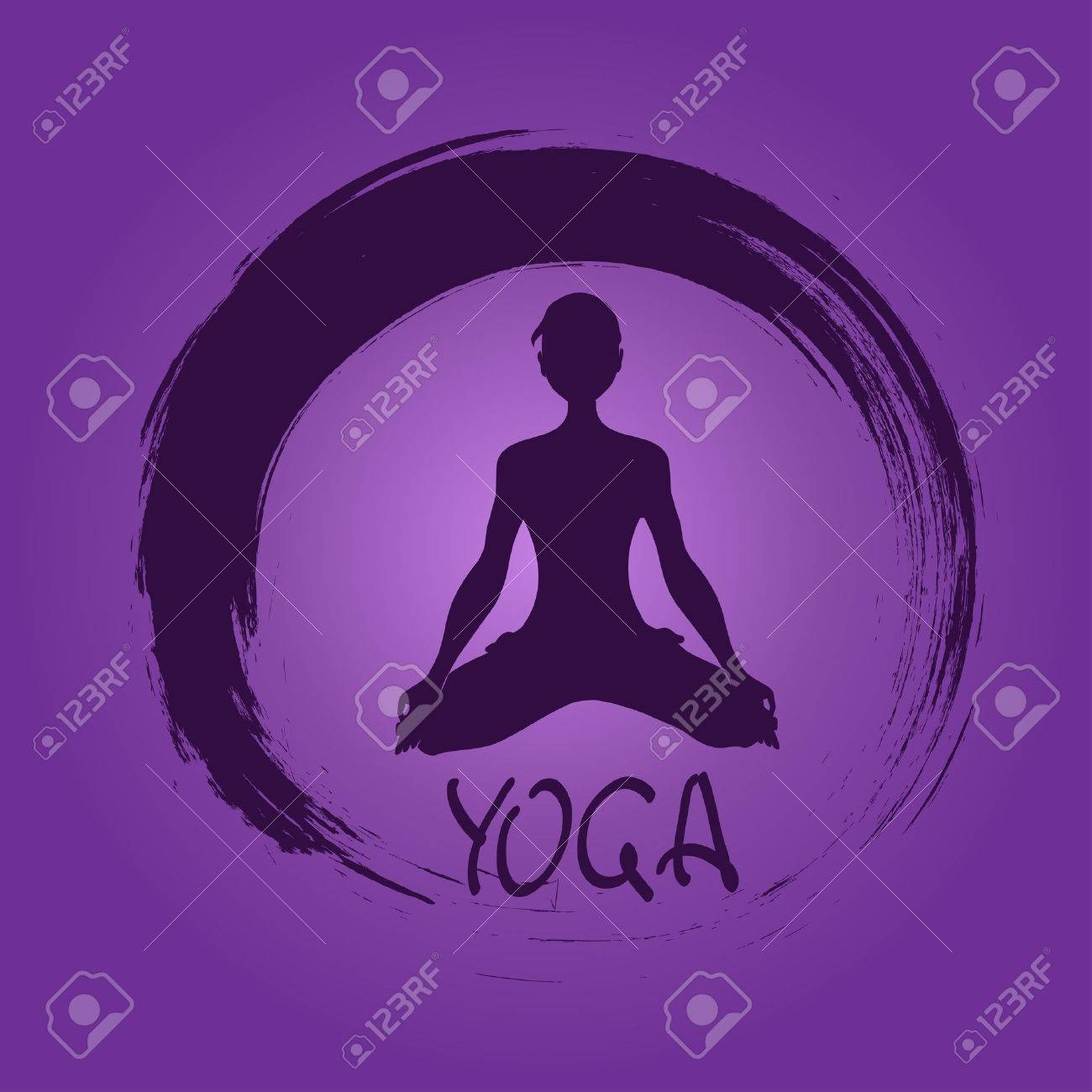 Isolated yoga label with Zen symbol and Lotus pose Stock Vector - 23499216
