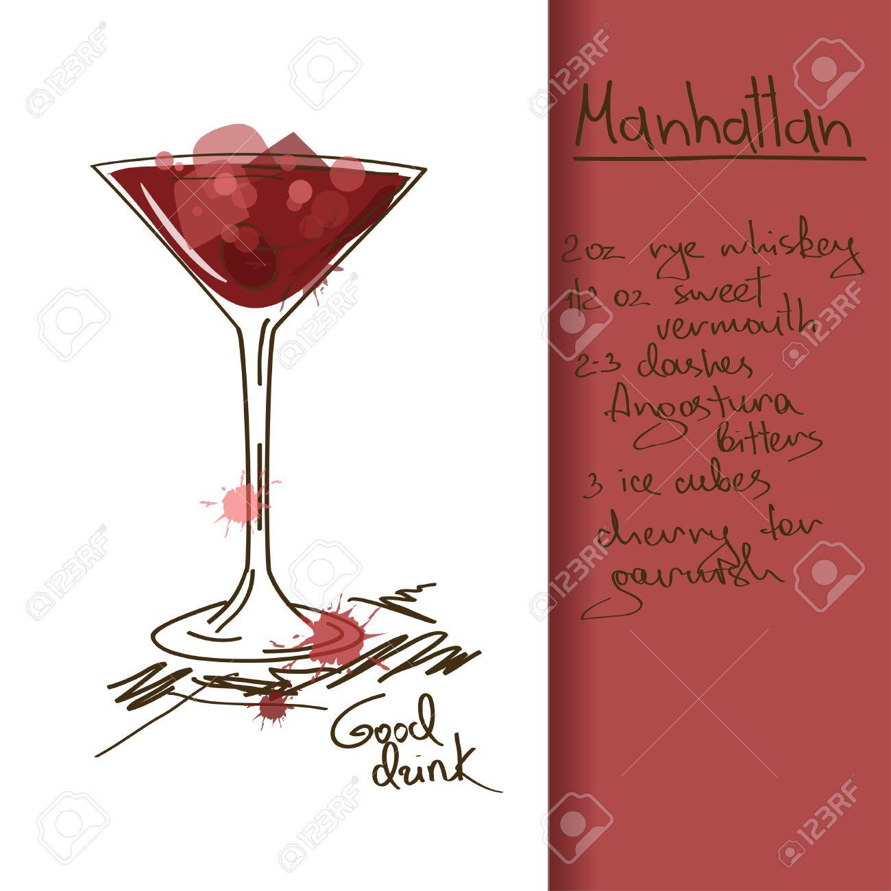 Illustration With Hand Drawn Manhattan Cocktail Royalty Free Cliparts Vectors And Stock Illustration Image 23499321