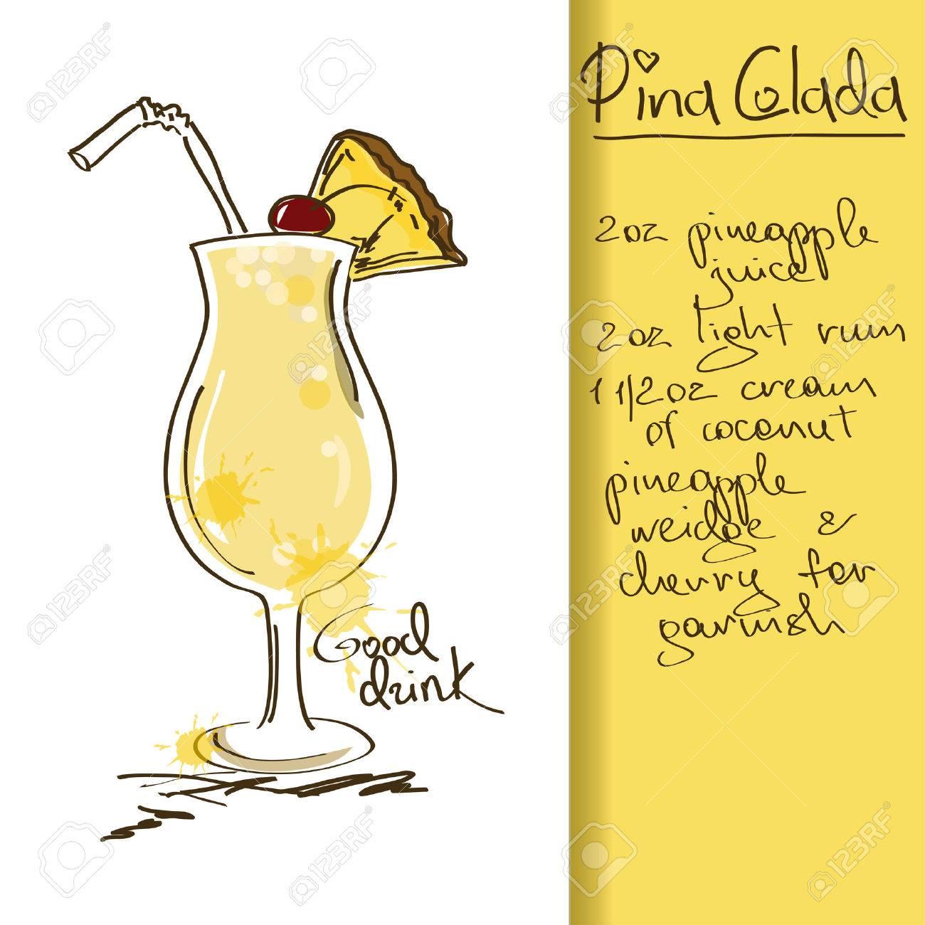 Pina colada cocktail  Illustration Mit Hand Gezeichnet Pina Colada Cocktail Lizenzfrei ...