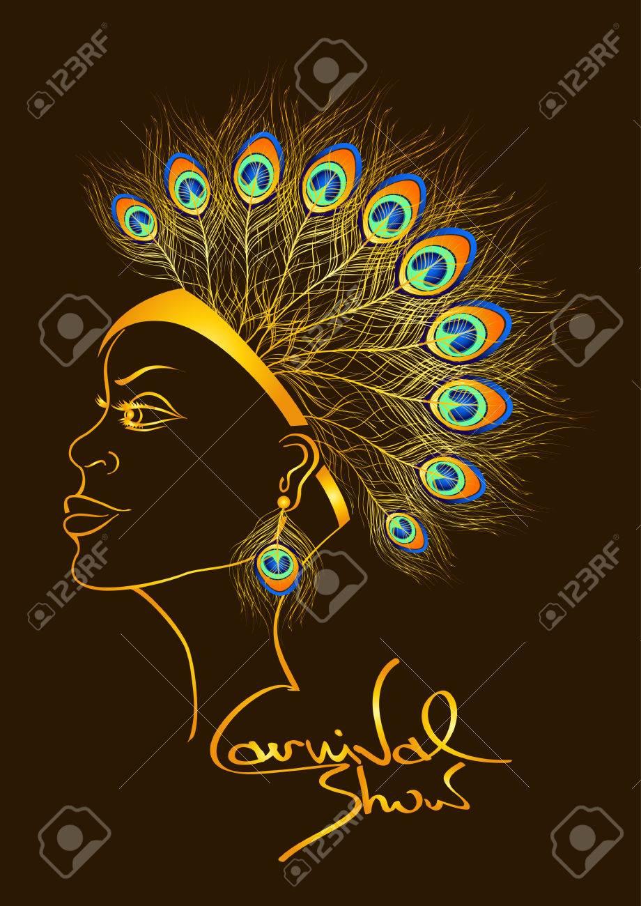 carnaval de la invitacin con el esquema mujer hermosa en tocado de plumas de pavo real