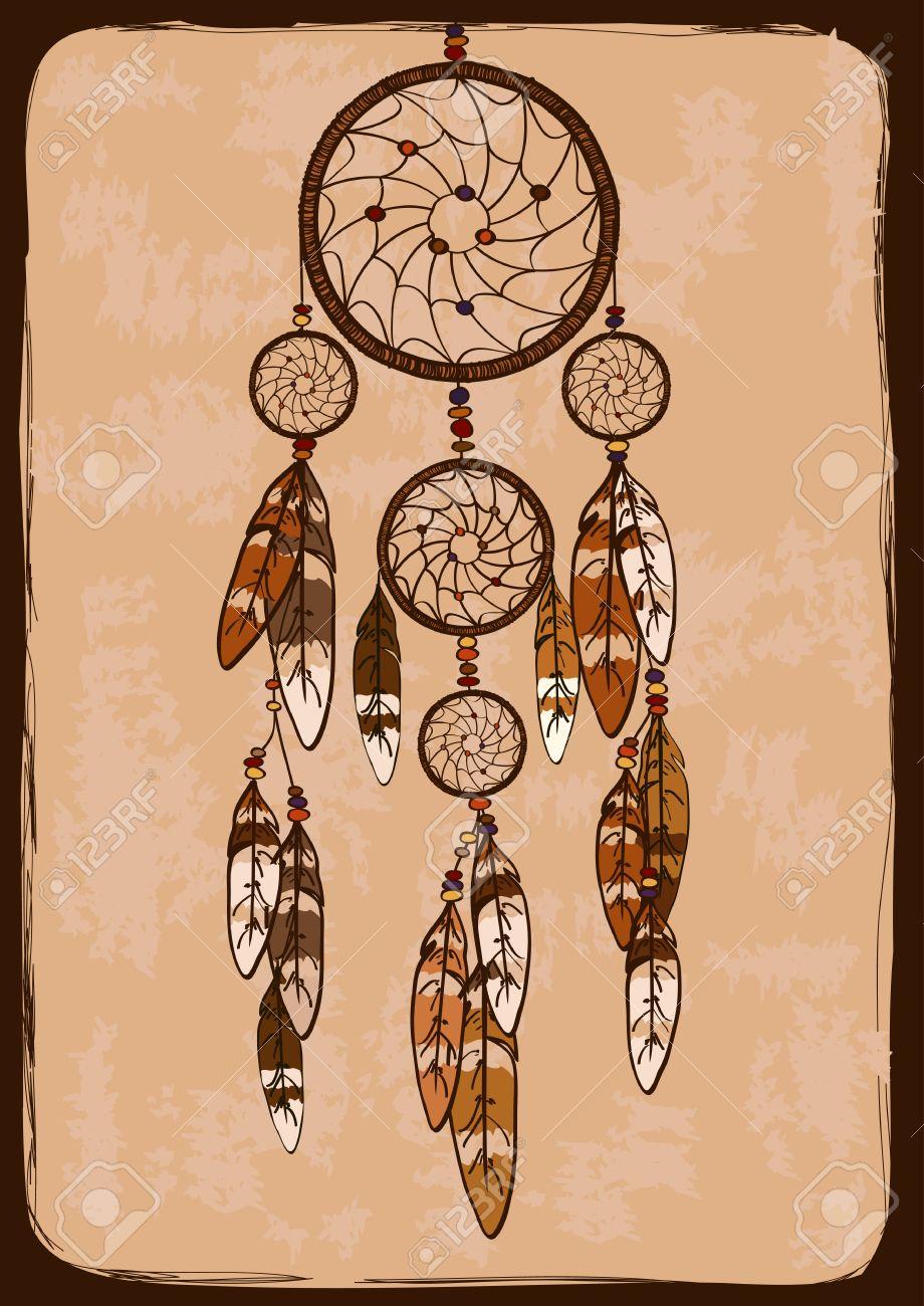 Ilustración Con Tribal Nativa Atrapasueños Indio Americano ...