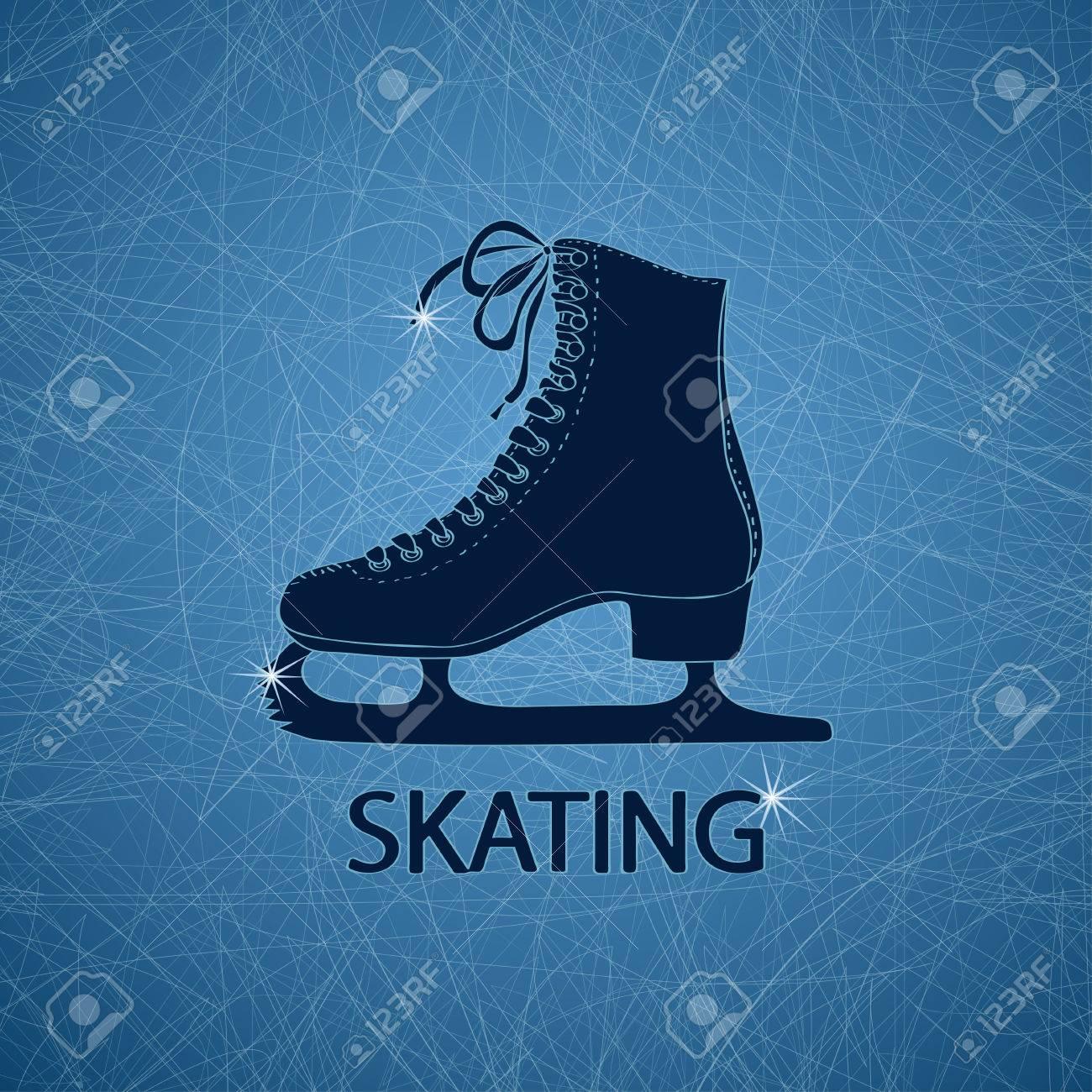 Ilustración Con La Figura De Skate En Una Pista De Patinaje Sobre ...