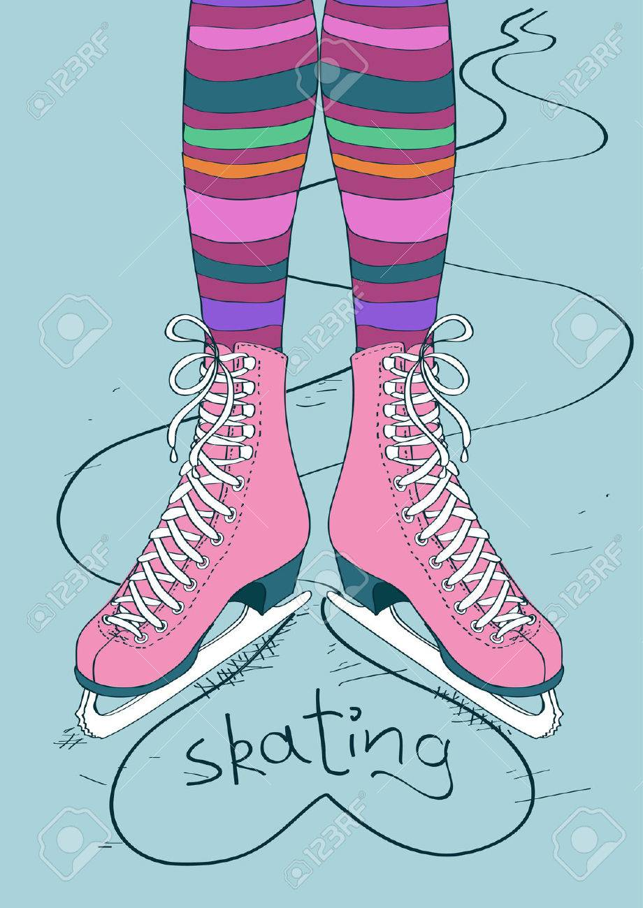 Doodle illustration with female legs in striped tights and skates Stock Vector - 23640552