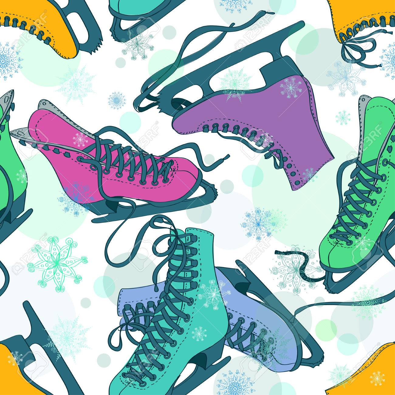 Seamless pattern of colorful skates on a snowflake patterned background Stock Vector - 23640556