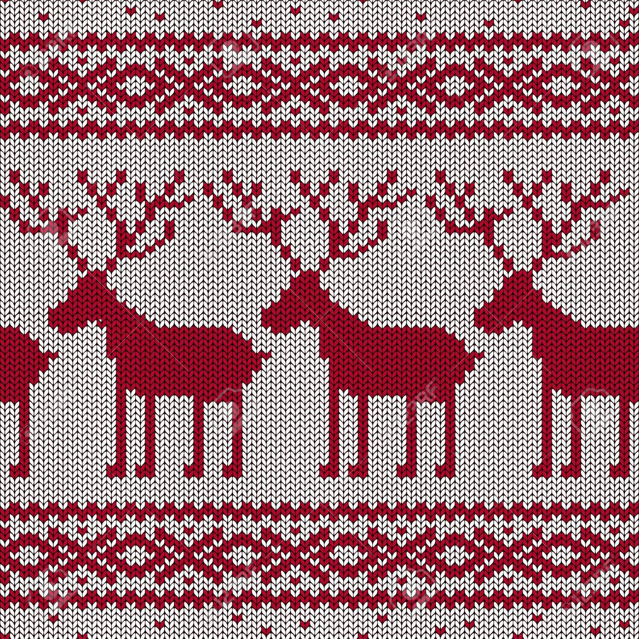 Scandinavian Knitted Seamless Pattern With Deers Royalty Free ...