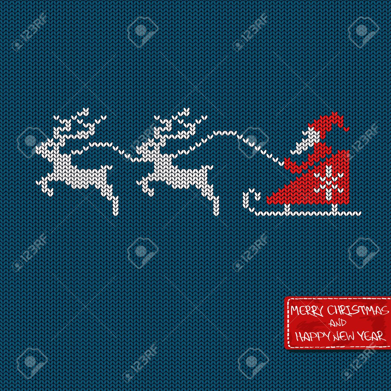 Christmas and New Year knitted pattern card with Santa in sleigh, deers and greeting tag - 23989200