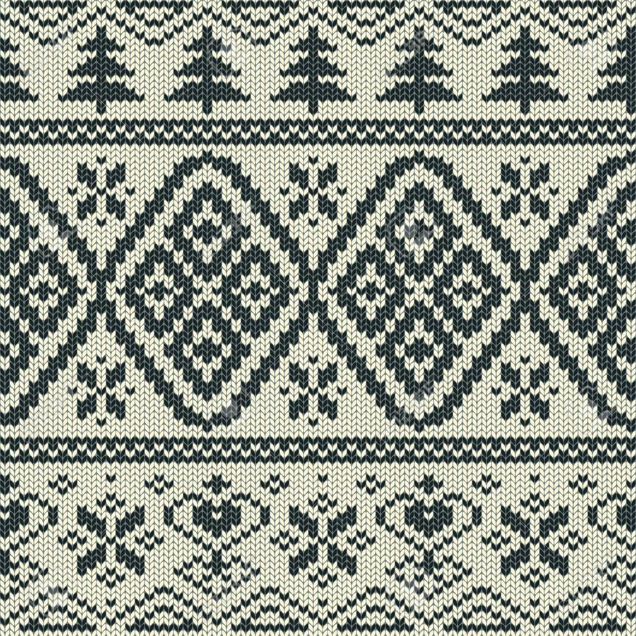 Scandinavian Knitted Seamless Pattern With Snowflakes And Trees ...