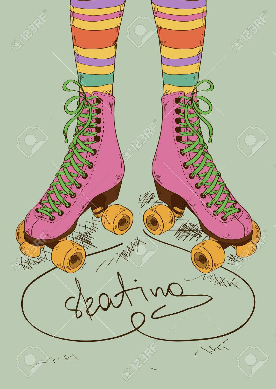 Illustration with girl's legs in striped stockings and retro roller skates Stock Vector - 24382436